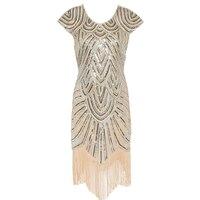 1920 s Flapper Gatsby Vestido das mulheres Mulheres de Vestido de Lantejoulas Artesanal Embelezado Vestido de Franja Dança Gatsby Vestido de Partido Do Vintage