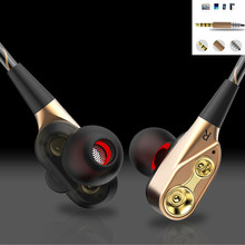 hot deal buy earphones headphones  earbuds bass dual drive stereo in-ear earphones with microphone  for phone sport headsets high quality