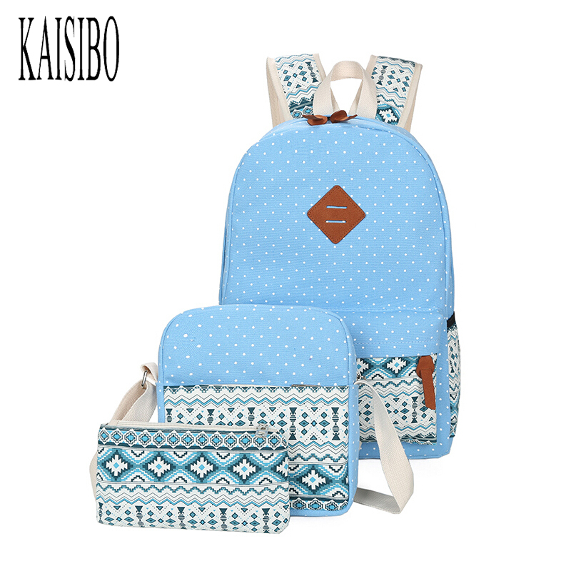 KAISIBO 2017 New 3Pcs/set Polka Dot Printing Women Backpack Ethnic Canvas Bookbags School Bags Backpacks for Teenage Girls