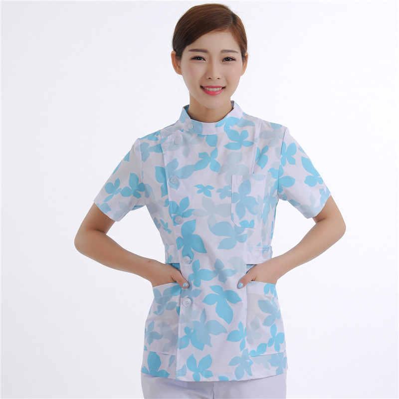 New Women Medical Scrub Sets Nurse Hospital Uniforms Dental Clinic Beauty Salon Short Sleeve Flower Printing Medical E21R