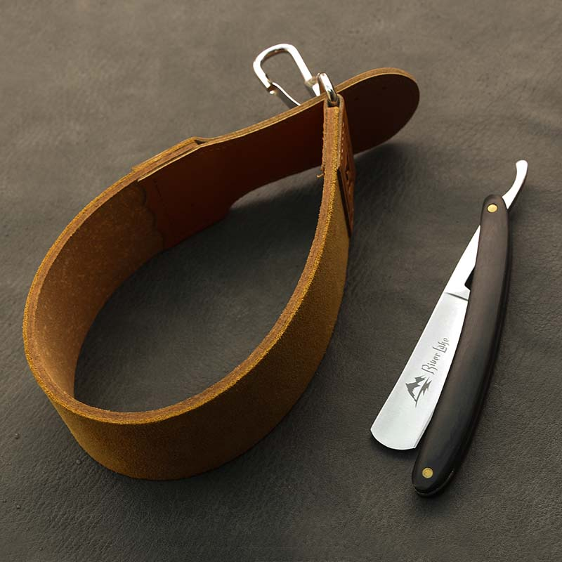 River Lake Barber Shaving Straight Razor Set Straight Razor Shaving Handle Razor Hand Made Wooden Handle  Leather Razor Strop