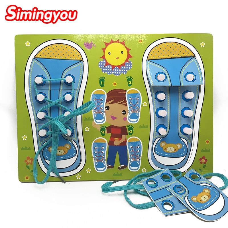 Simingyou Puzzle Gyermekcipők Viseljen cipőfűzők Tanulási oktatás Fa játékok gyerekeknek Karácsonyi ajándék QZM13 Drop Shipping