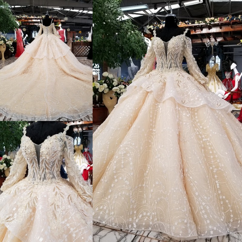 Lace Wedding Gown Designers: Wedding Dresses Long Sleeves With Cape Puffy Skirt Bridal