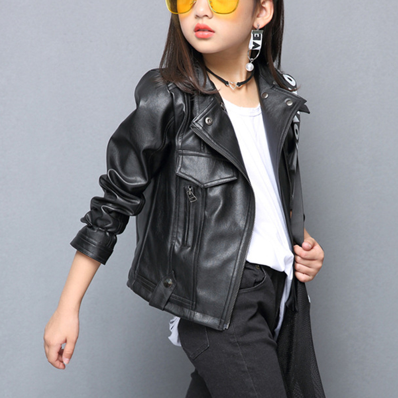 2018 New Spring Autumn Fashion PU Leather Jackets For Girls 2017 New Autumn Spring Kids Coat Short Jacket Girls Outerwear 4-14Y