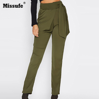 Missufe 2017 Autumn High Waist Pencil Pants Casual Long Pants With Belt Basic Solid Army Green Trousers For Women