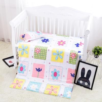 Promotion! 3PCS Cotton Baby Linen Boy bedding set Baby Bedding Baby Crib Set For Both Girl Boy ,Duvet Cover/Sheet/Pillow Cover