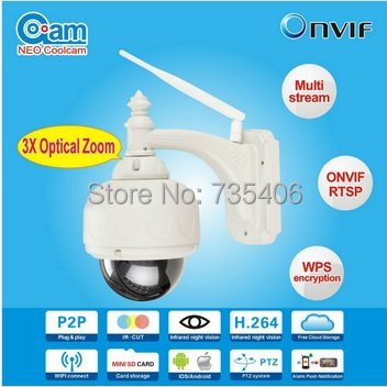 PTZ 720P HD CCTV H 264 4 9 mm lens 2 Array Leds Android IOS PC