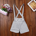 Plaid Bow All- Mach Girls Jumpsuits  Cotton Summer Kids Overalls 2016 Fashion Girls Clothes
