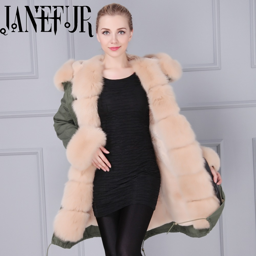 2016 new design women fur parka fox coat with real hooded winter bloger style