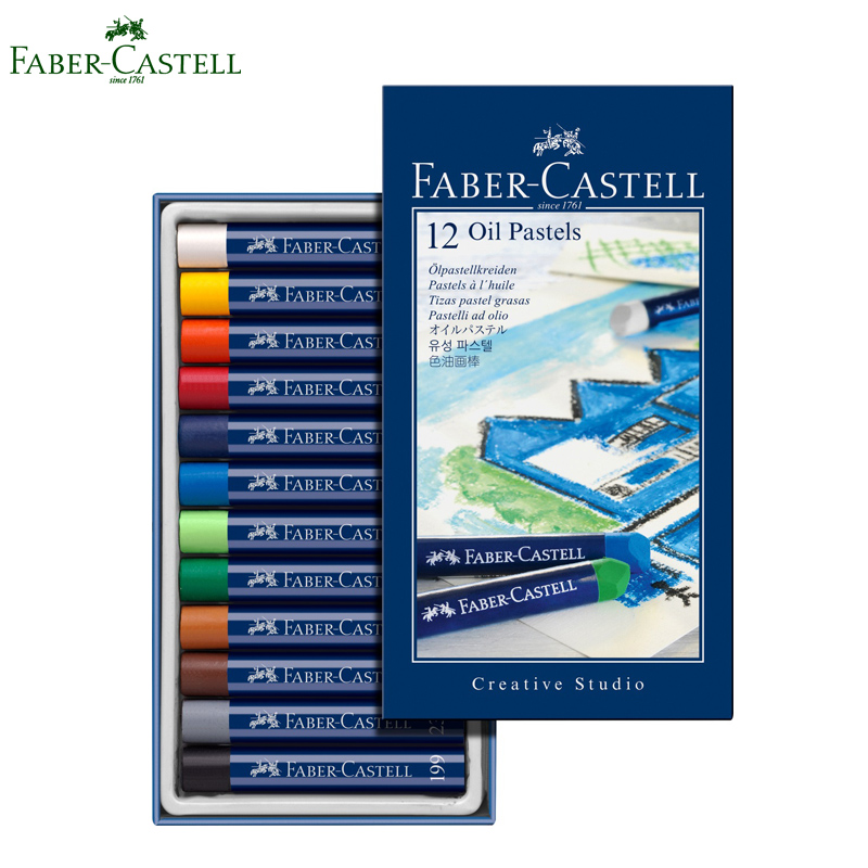 Faber Castell 12 Colors Oil pastel painting set kids crayons chalk pastel art Drawing school stationery faber castell 30 colors cute creative colorful crayons connector watercolor gel pen for drawing art stationery supplies