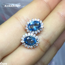 KJJEAXCMY Fine Jewelery Natural Blue Topaz Earrings shinv paragraph 925 sterling silver inlay hot classic timeless