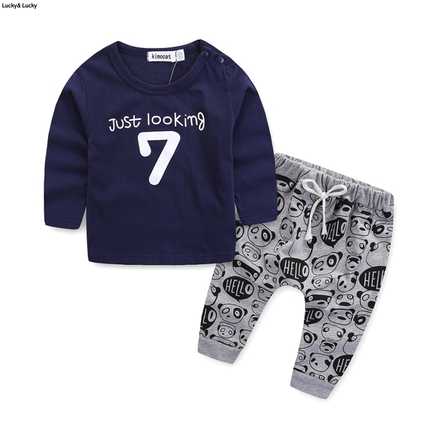 7061305398345 Newborn clothes baby clothing set long sleeve letter 7 printed t-shirt baby  boys clothes for newborn