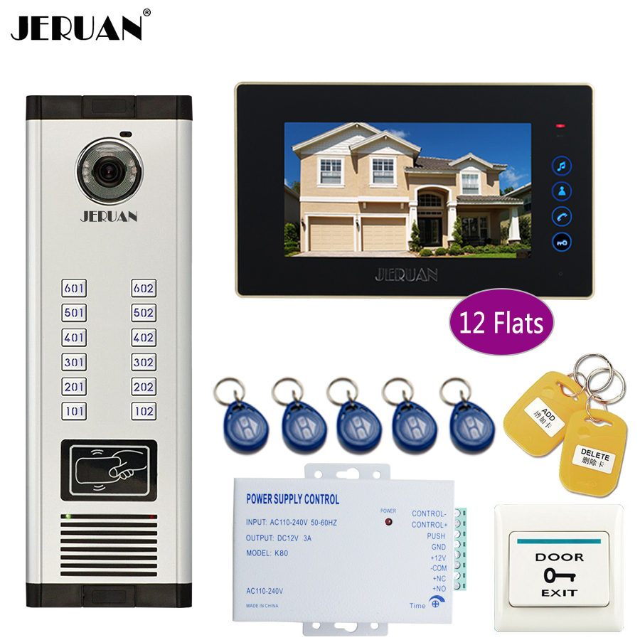 JERUAN Apartment 7 Inch LCD Monitor 700TVL Camera Video Door Phone Intercom Access Home Gate Entry Security Kit for 12 Families jeruan luxury 7 lcd monitor 700tvl camera apartment video door phone 5 kit access control home security kit free shipping