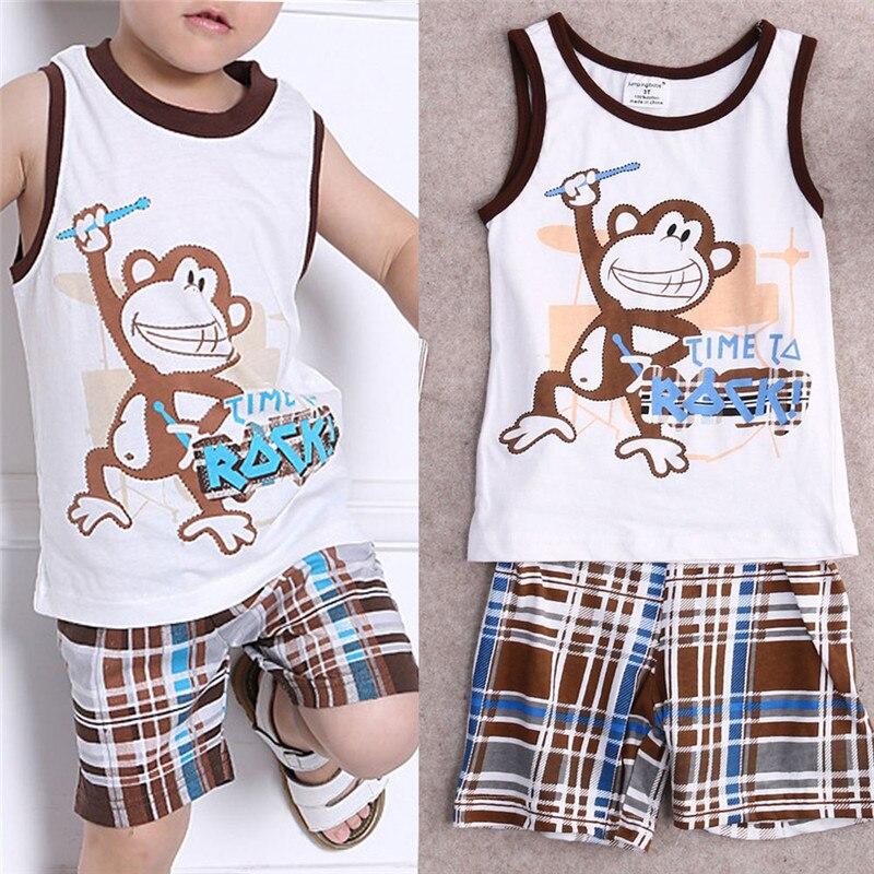 Летний комплект одежды из 2предметов для маленьких мальчиков спортивная майка без рукавов и шорты милая майка с обезьянкой модная одежда д...