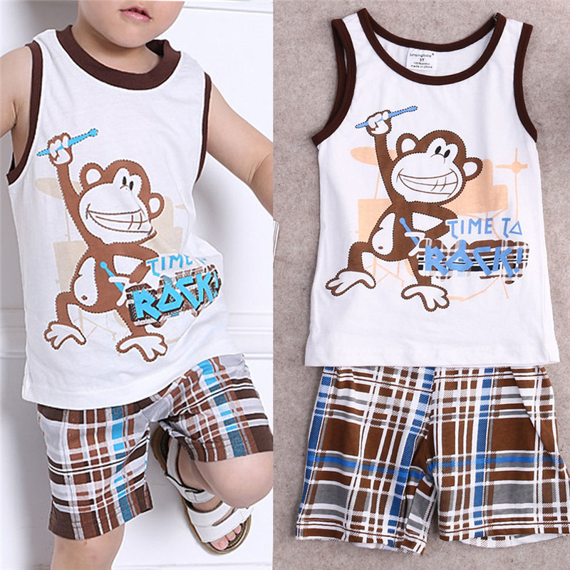 093a6cc5d11e 2pcs Toddler Kids Baby Cool Boys Cute Monkey Sleeveless Summer ...