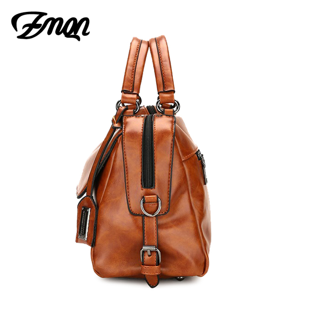 ZMQN Women Leather Handbag Brand Shoulder Bag Casual Tote Bag For Female Sac a Main Vintage Ladies Hand Bag Small Crossbody C603 2