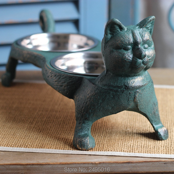 Cast Iron Base Stainless Pet Feeding Bowl Double cat Bowl Feeding Station for Dogs or Cat