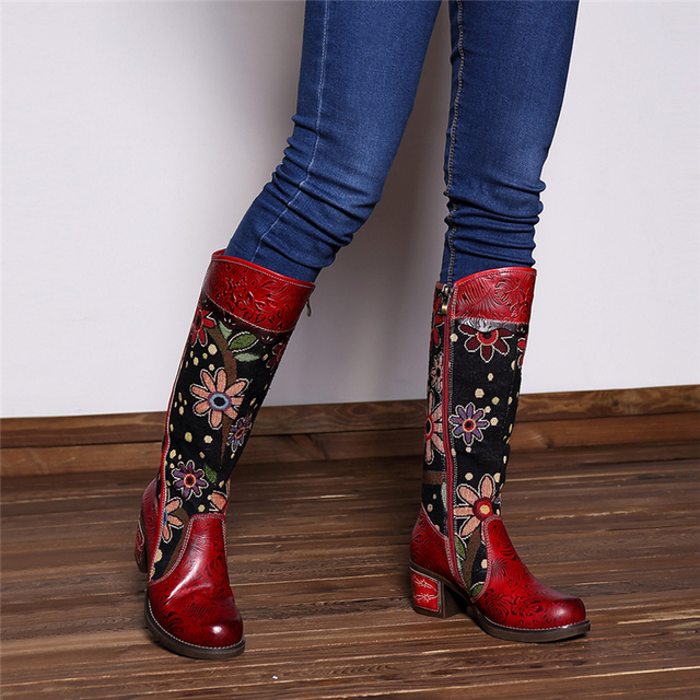 Jo Jo Patchwork Genuine Leather Boots