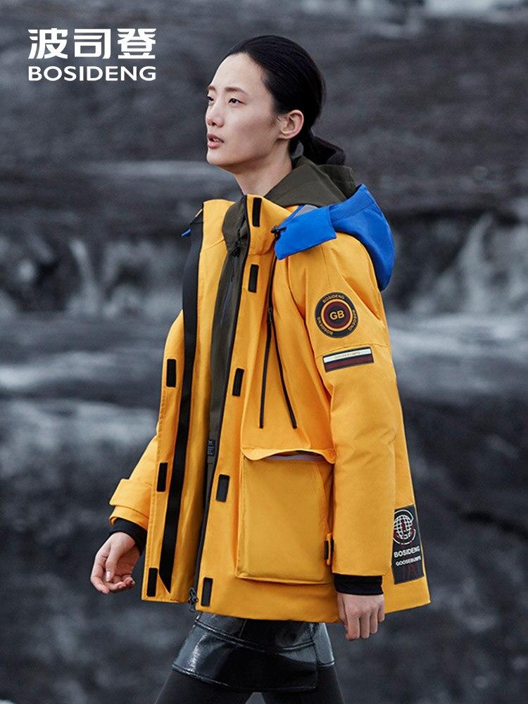 BOSIDENG designer collection femmes goose manteau de duvet safari style épaissir chaud veste en duvet d'oie à capuche contraste couleur B80142168S