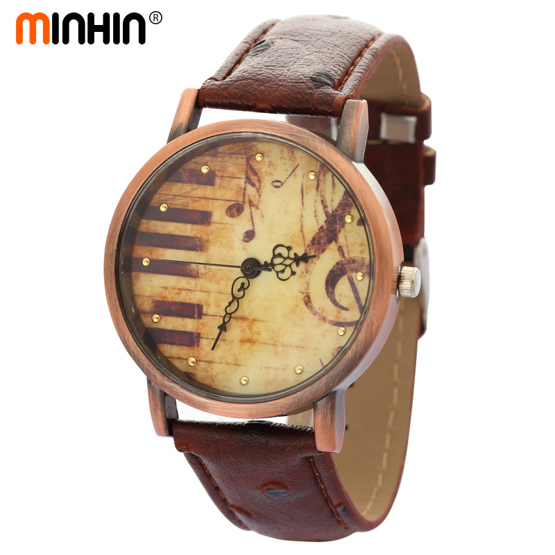 MINHIN Retro Bracelet Watches Piano Musical Note Design Quartz Watch Female PU Leather Watches Relogio Feminino Wholesale