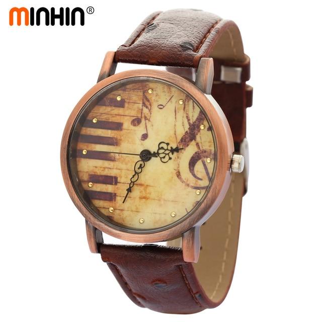 MINHIN Retro Bracelet Watches Piano Musical Note Design Quartz Watch Female PU L