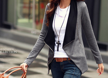 Women Casual Cardigan 2019 Spring Autumn Women Jacket Patchwork Long Sleeve Asymmetric Slim Coats Knitted Tops