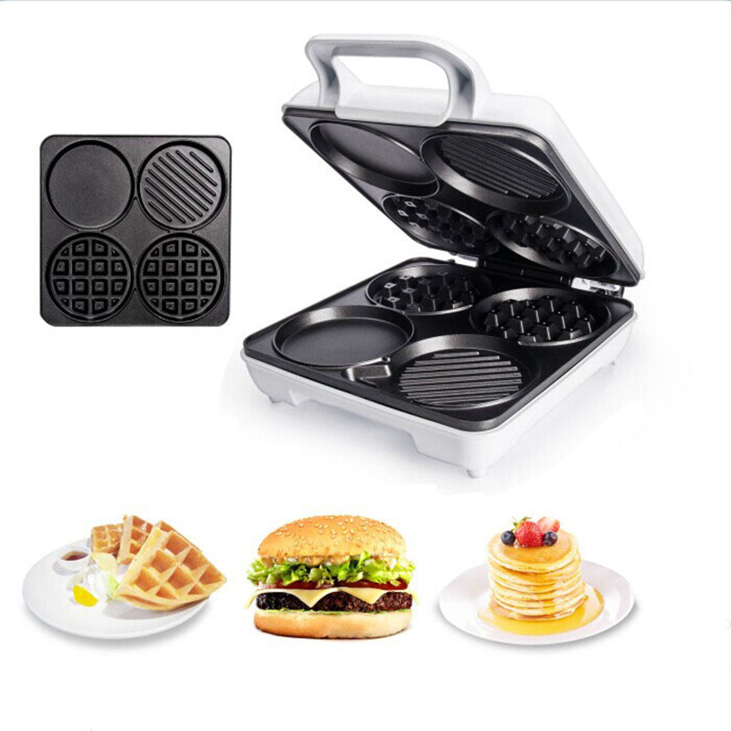 220V Multifunctional Electric Waffle Machine Non-stick Muffin/Crepe/Bread/Sandwich/Roast Meat Maker Machine For DIY Breakfast dmwd home sandwich machine small diy crepe pancake breakfast waffle maker electric grill stainless steel 220v