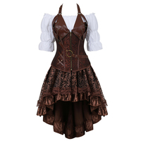 Steampunk Bustier Corset Plus Size 6XL PU Leather Corset Skirt Tops 3 Piece Set Gothic Burlesque Pirate 2019 New Arrival 8105 3