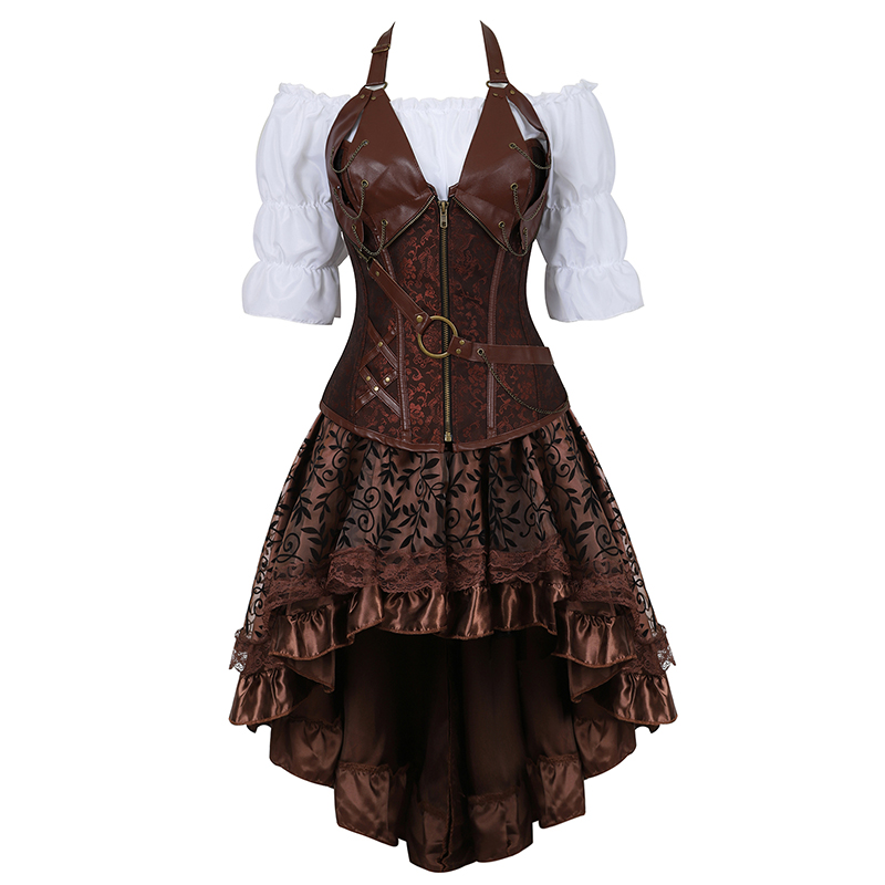 Steampunk   Bustier     Corset   Plus Size 6XL PU Leather   Corset   Skirt Tops 3 Piece Set Gothic Burlesque Pirate 2019 New Arrival 8105-3
