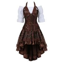 Steampunk Bustier Corset Plus Size 6XL PU Leather Corset Skirt Tops 3 Piece Set Gothic Burlesque Pirate 2019 New Arrival 8105 3