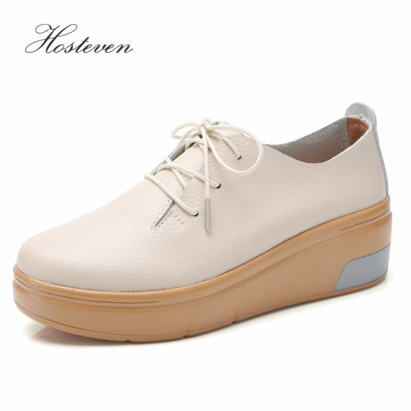 Hosteven Women Shoes Flats Moccasins Sneaker Loafers Cow   Suede     Leather   Spring Autumn Female Students Ladies Shoes