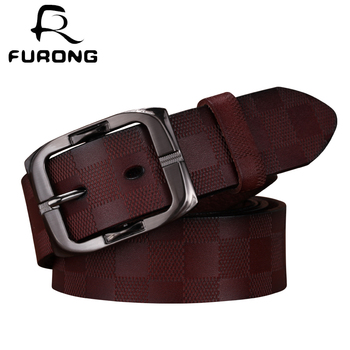 FURONG Lattice Embossing Genuine Leather Men Belt Classic Retro Fashion Square Pin Buckle Belts Cinturones Hombre Mujer FR052