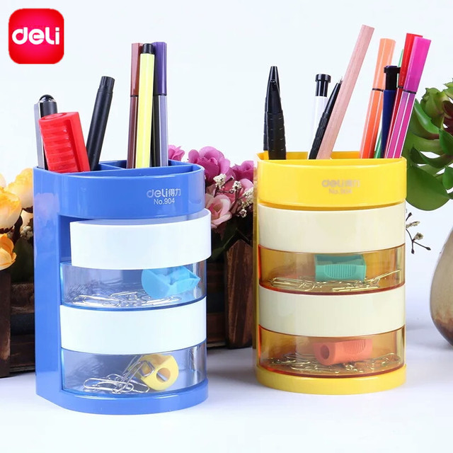 Deli Multifunctional Pen Holder Bright Color 4 Layers Drawer High End  Desktop Set Office Pen