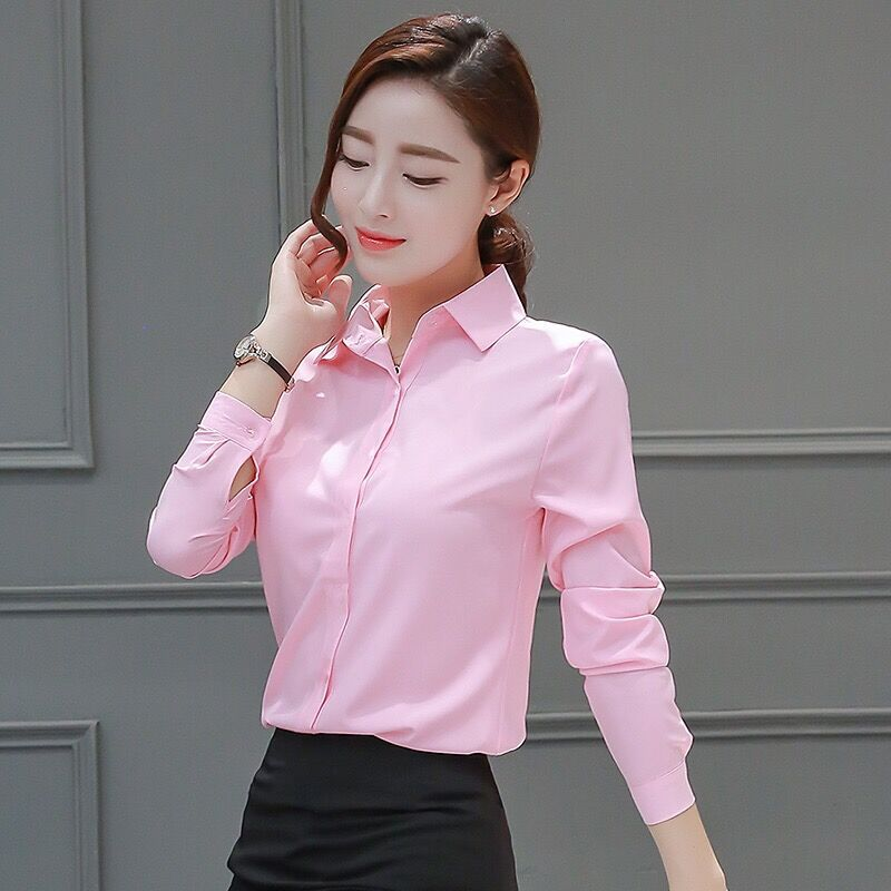 BIBOYAMALL Work Wear Women Shirt Blusas Femininas Tops Elegant Ladies Formal Office White Blouse Long Sleeve Girls Shirts
