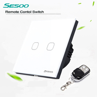 EU Standard SESOO Remote Control Switch 2 Gang 1 Way Crystal Glass Switch Panel Remote Wall
