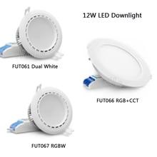 2.4G 12W MiBOXER RGB+CCT LED Downlight AC86-265V FUT066 Led panel light Round dimmable&remote milight ac110v 220v 15w ip54 waterproof rgb cct led downlight dimmable ac86 265v round reccessed light fut069 2 4g