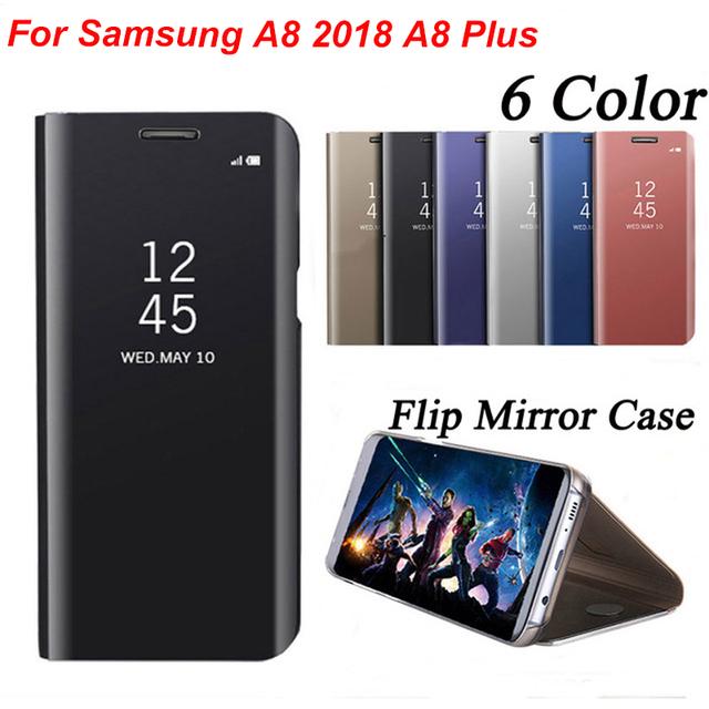 hot mirror case for samsung galaxy a8 2018 case a8 plus leather smart clear view flip stand. Black Bedroom Furniture Sets. Home Design Ideas