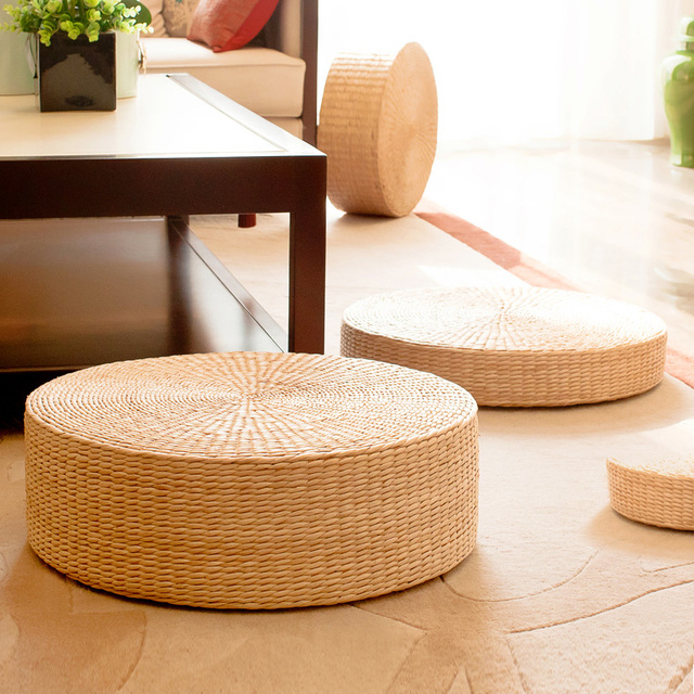 1x Rush Cushion Meditation Straw Mat Seat Home Decor Tatami Floor Pillow Sitting Round Padded Outdoor Natual 24 Sizes