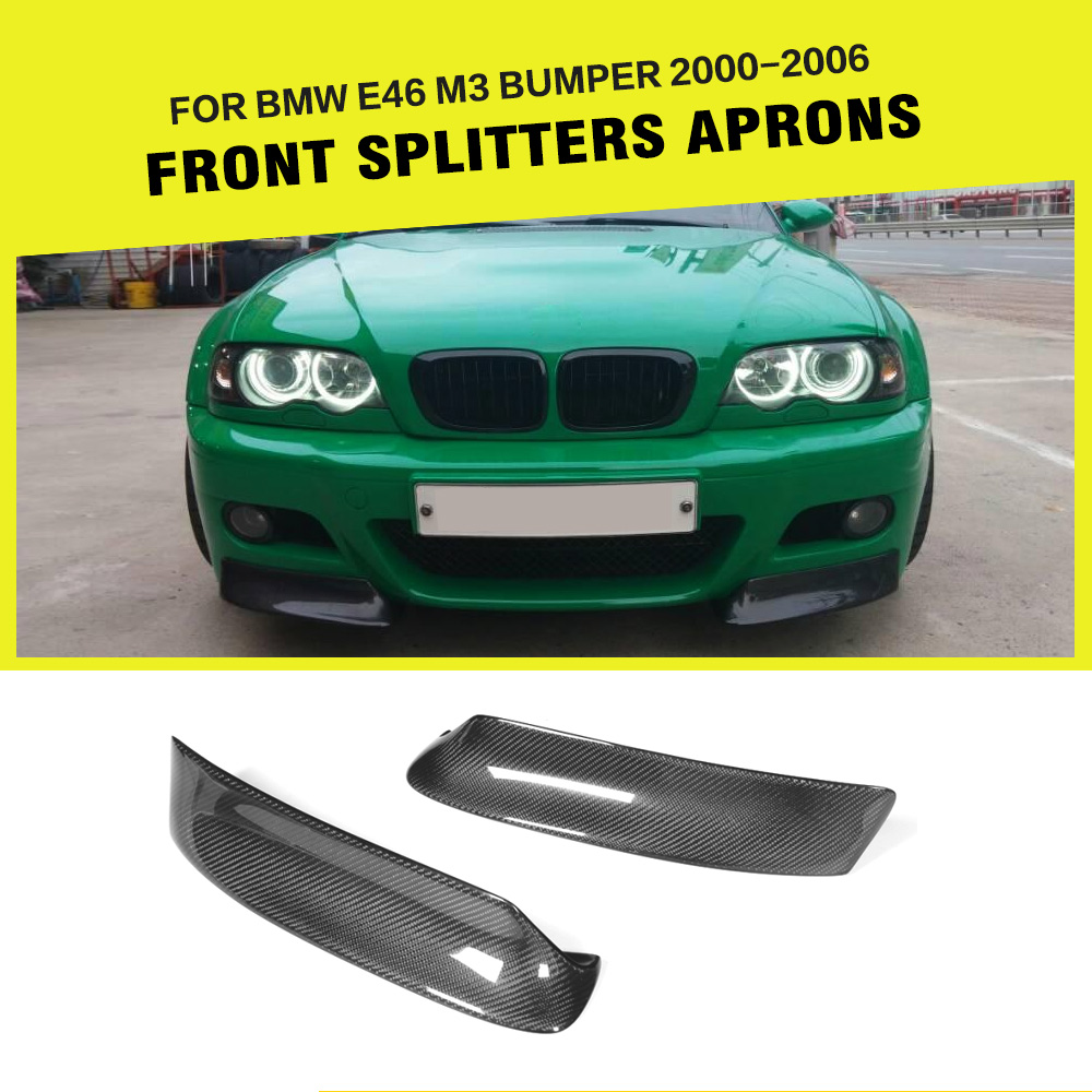 Carbon Fiber Car Front Lip Splitters Aprons Cupwings Flaps Flags For BMW 3 Series E46 M3 Coupe 2000-2006 Car Styling for bmw 3 series e46 2door facelifted coupe 2004 2005 2006 carbon fiber black front grille grill left