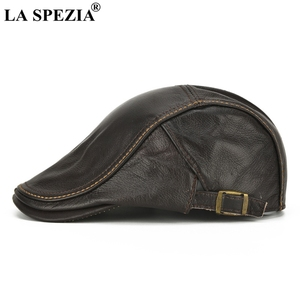 Image 3 - LA SPEZIA Autumn Winter Flat Caps For Men Brown Adjustable Duckbill Hats Male Real Cowhide Leather Classic High End Driving Caps