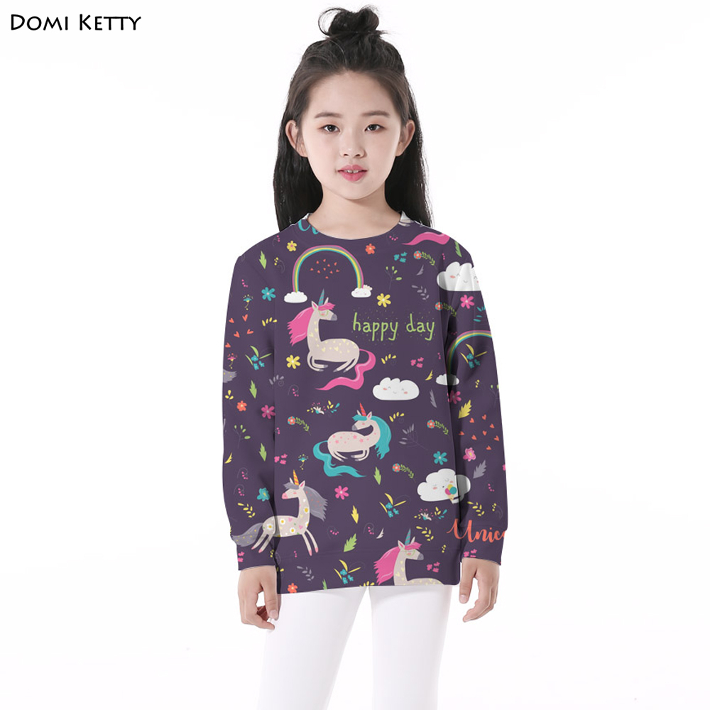 Domi Ketty kids floral hoodies print unicorn girls boy casual long sleeve sweatshirts cartoon children birthday pullover clothes men tiger print sleeve drawstring hoodie sweatshirt