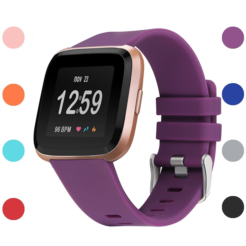 Soft Silicone Sport Replacement Band Accessories Fitness Wristband For Fitbit Versa Smart Watch Women Men Large