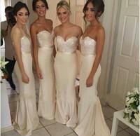 Удивительные бисера без бретелек длинные русалка платье невесты элегантное платье для невесты Vestidos партии WD17