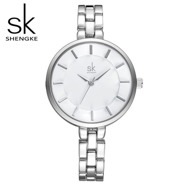 SK Brand Fashion Women Silver Wrist Watches Luxury Women Quartz Watches  Steel Dress Watch Relogio Feminino Montre Femme S0009
