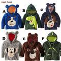 Горячая продажа 2015 детская одежда мальчики девочки Динозавр Балахон Флис мультфильм собака дети свитера куртки детские пальто