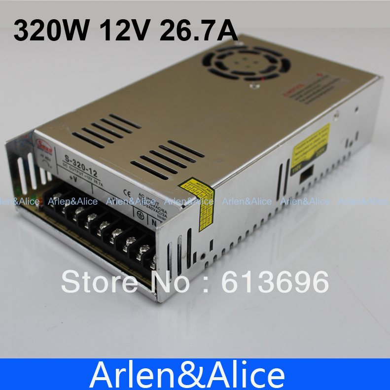 320W 12V 26.7A Single Output Switching power supply for LED Strip light AC to DC 110V 200V selected by switch allishop 300w 48v 6 25a single output ac 110v 220v to dc 48v switching power supply unit for led strip light free shipping