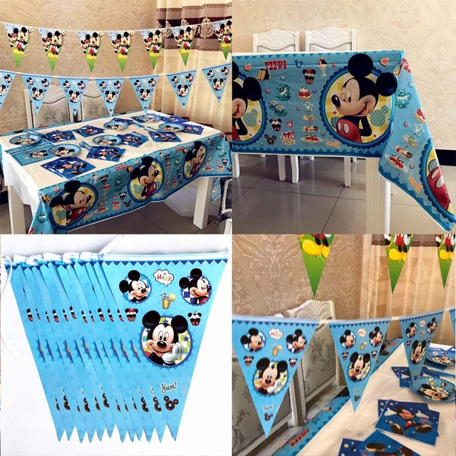 Mickey Mouse Tablecloths And Banner Flags Kids Birthday Party Baby