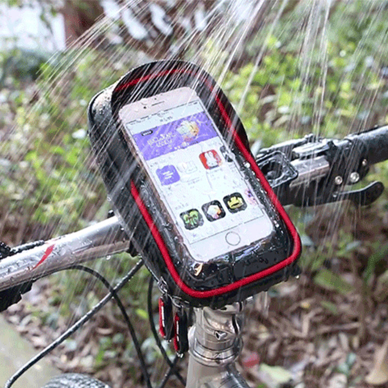 Waterproof Phone Mount Bag Wateproof Universal Cycling Bicycle Frame Pouch Phone Holder 6.0in for Iphone 66s77s8X Storage Case (4)