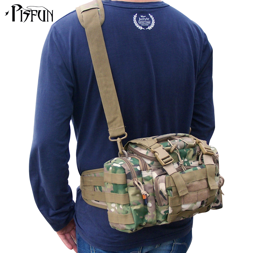 dd3225b123 Outdoor Lure Fishing bag 900D Oxford fishing tackle bag multifunctional  Camouflage waist pack messenger bag fishing