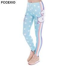 FCCEXIO Fashion Design Women Legins Unicorn Stars Printing Cozy Legging Woman High Waist Casual Leggings